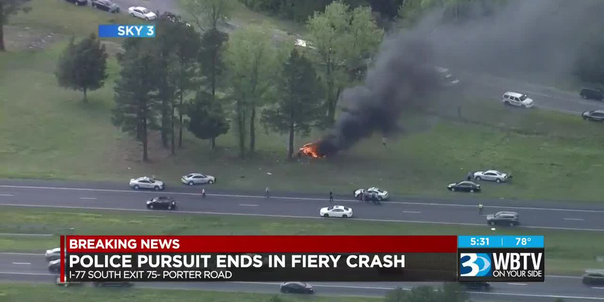 Police pursuit ends in fiery crash