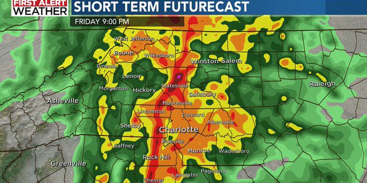 First Alert: Quick shot of heavy rain tonight