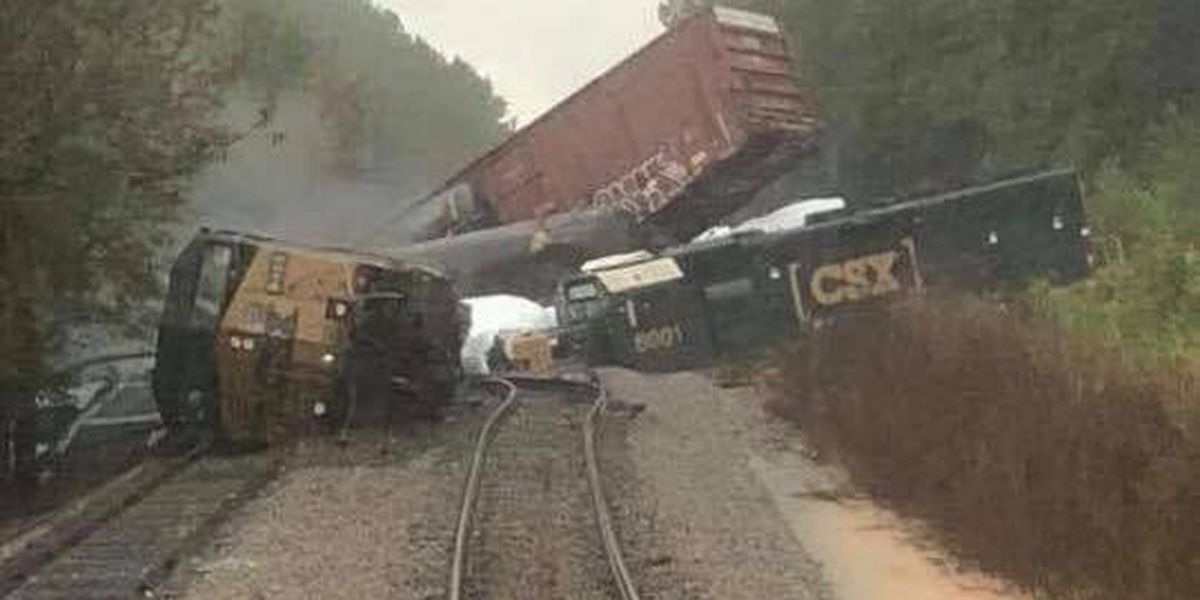 More than dozen locomotives and railcars derail in Anson County