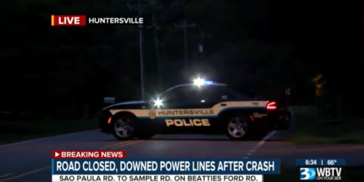 Car vs. tree closes portion of Beatties Ford Rd. in Huntersville Sunday morning