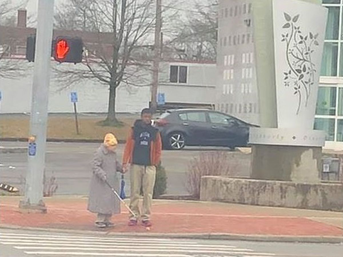 Good deed caught on camera: Ohio high school freshman seen helping woman cross the street