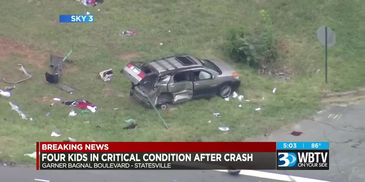 Four kids in critical condition after crash in Statesville