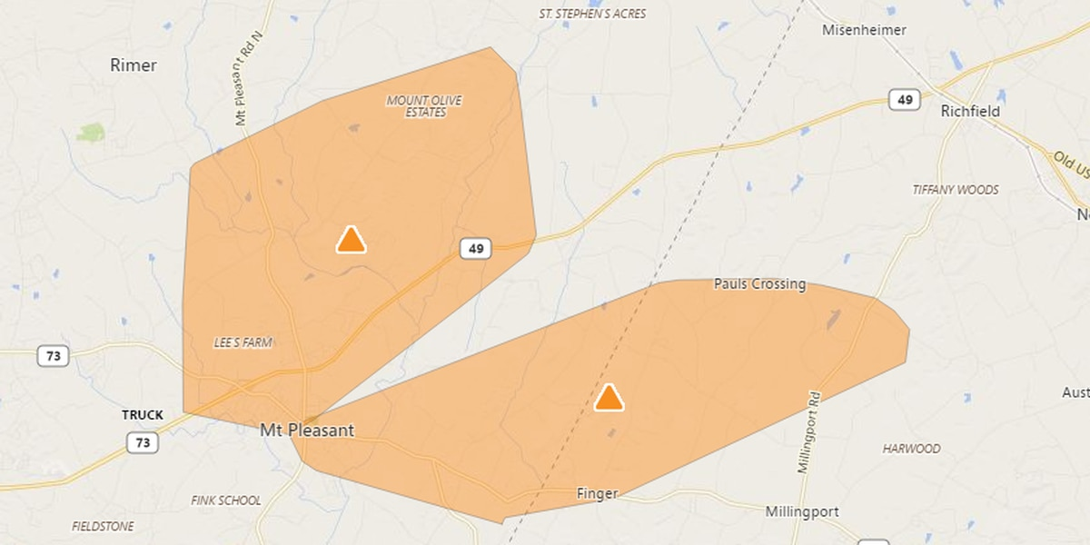 Power outages affecting residents who live in Cabarrus, Burke counties