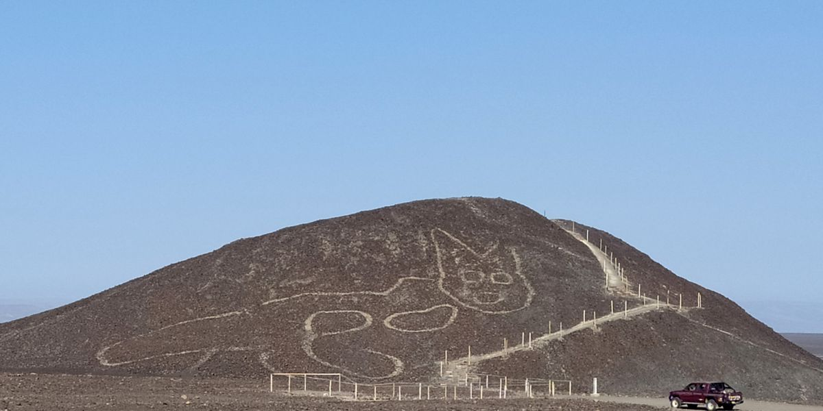Archeologists discover 2,000-year-old cat figure carving in Peru's Nazca Lines site