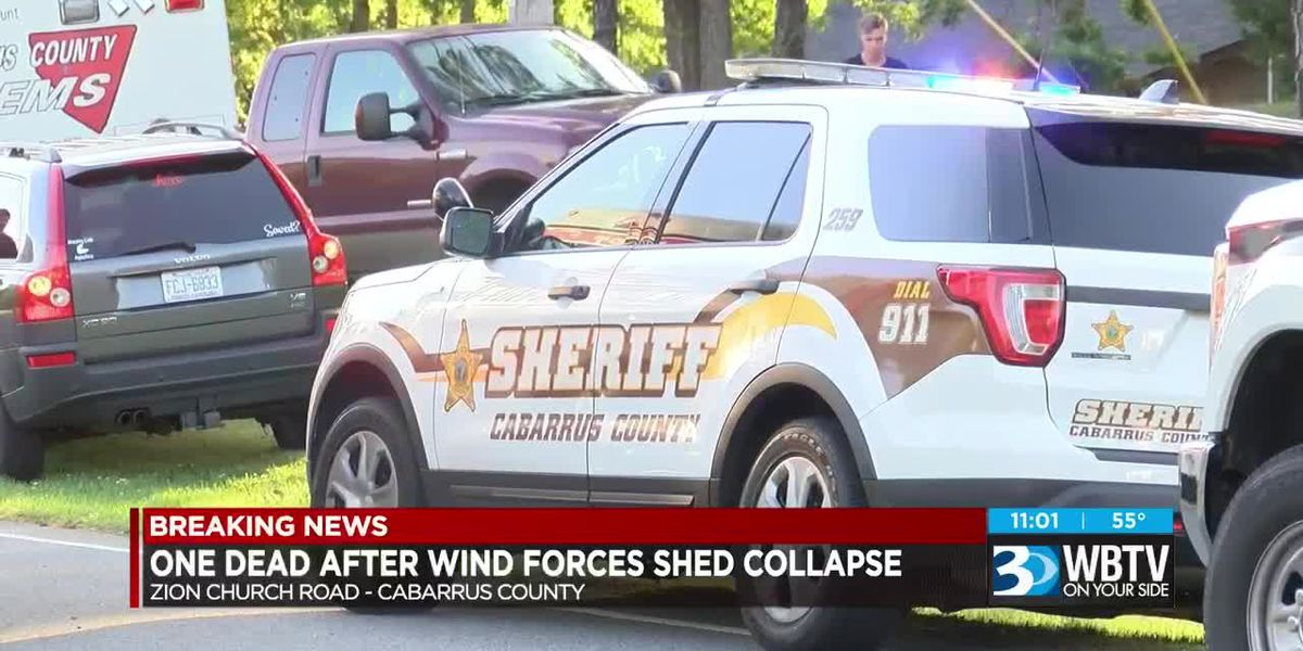 1 dead after wind causes large shed to collapse in Cabarrus County