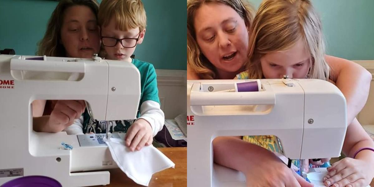 S.C. woman teaches empathy while sewing face masks with her children