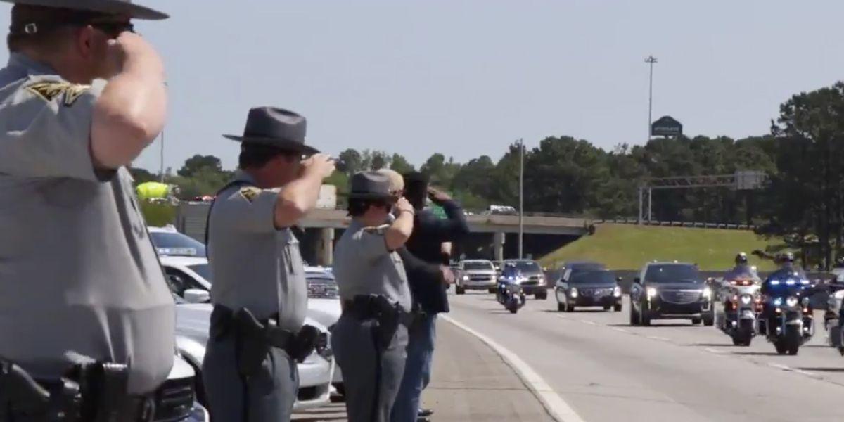 Law enforcement officers escort fallen Charleston Co. deputy after autopsy