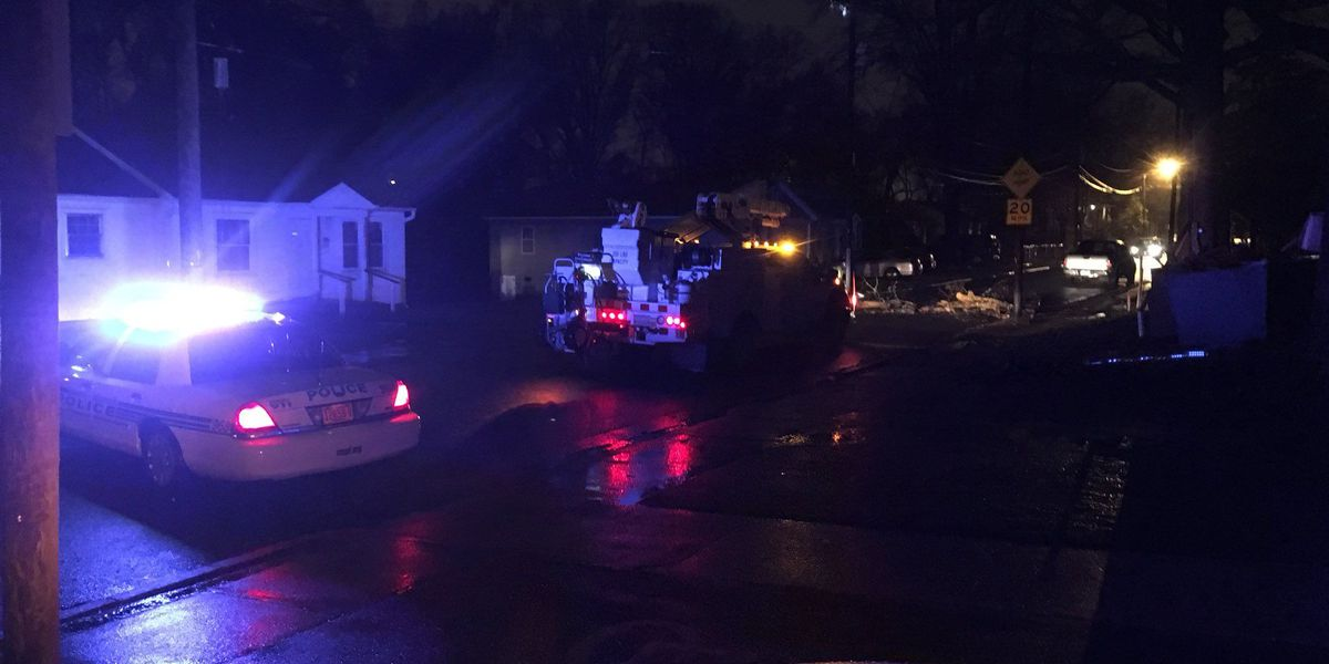 Portion of east Charlotte road blocked due to broken utility pole, fallen power lines