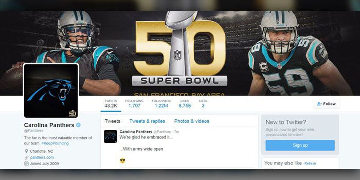 Panthers' Twitter account 'on fire' as team pounds way to Super Bowl