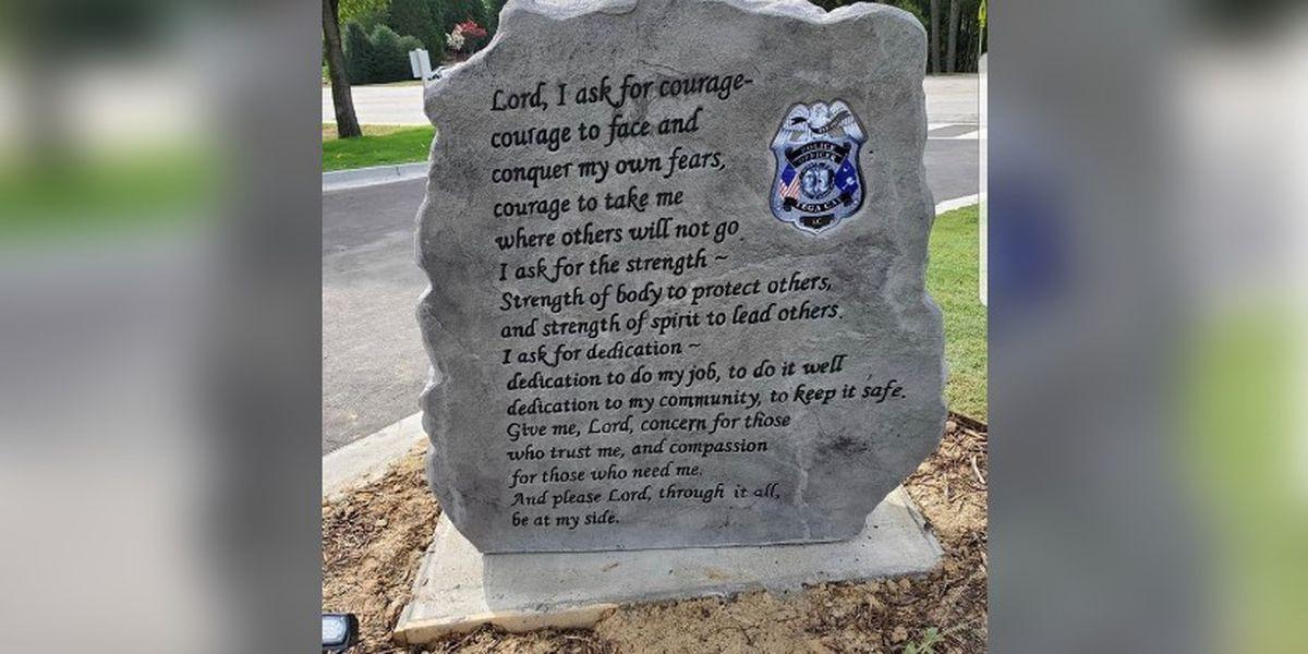 Tega Cay to restore police memorial after debate over Biblical message