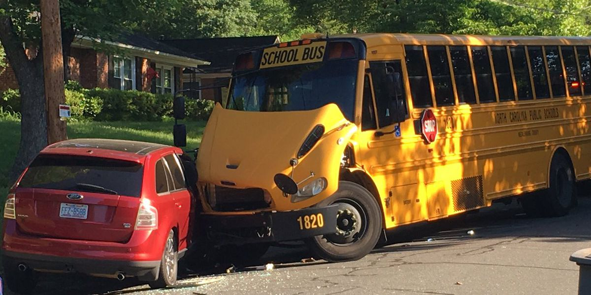 School bus crashes in south Charlotte with two students aboard