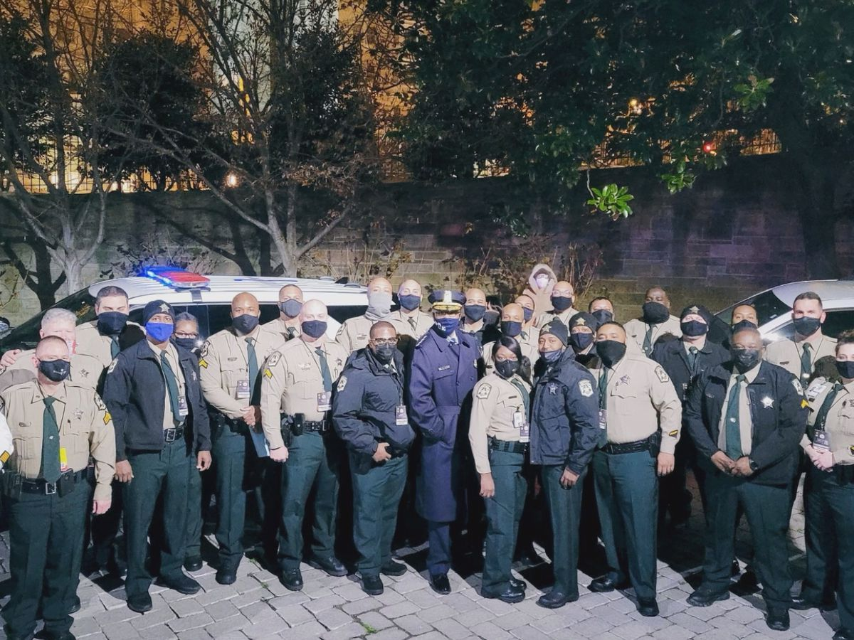 Deputies from Mecklenburg County Sheriff's Office prepared to provide security assistance for inauguration