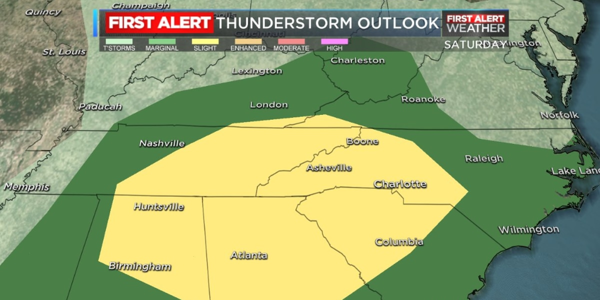 Thunderstorms rolling in through the weekend, First Alert Day declared for Saturday