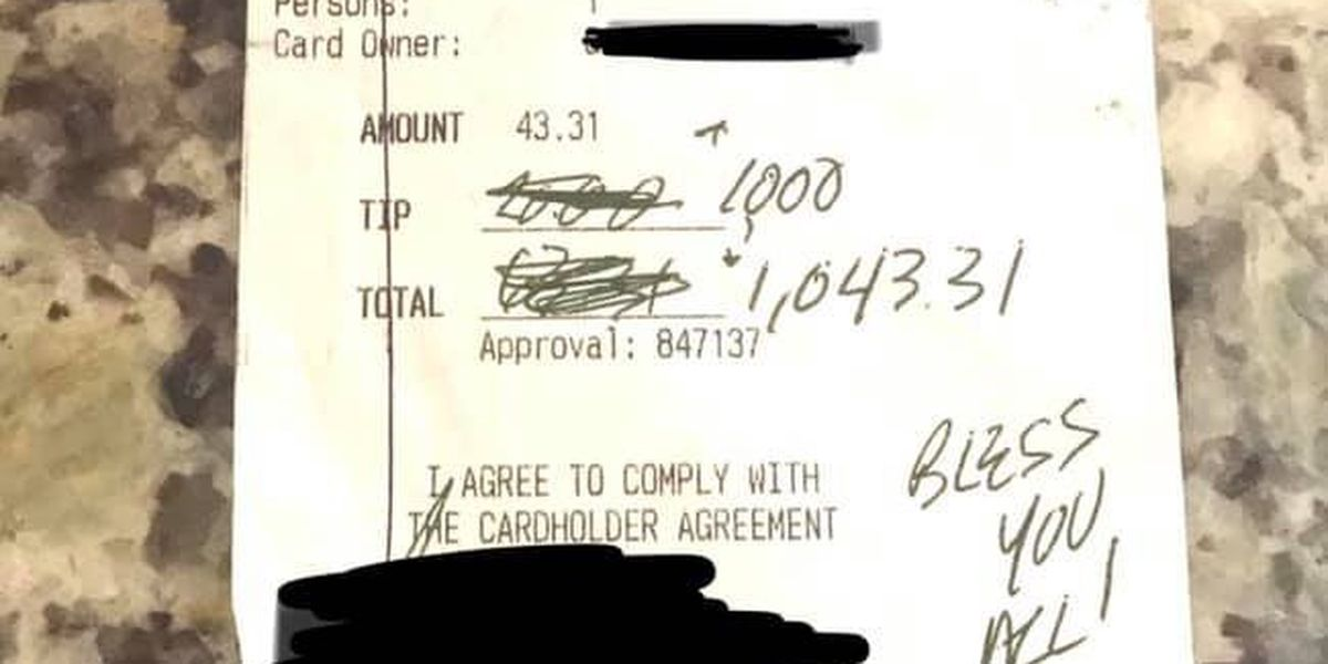 """There's so much kindness in this world"": Restaurant owner reacts to $1,000 tip"