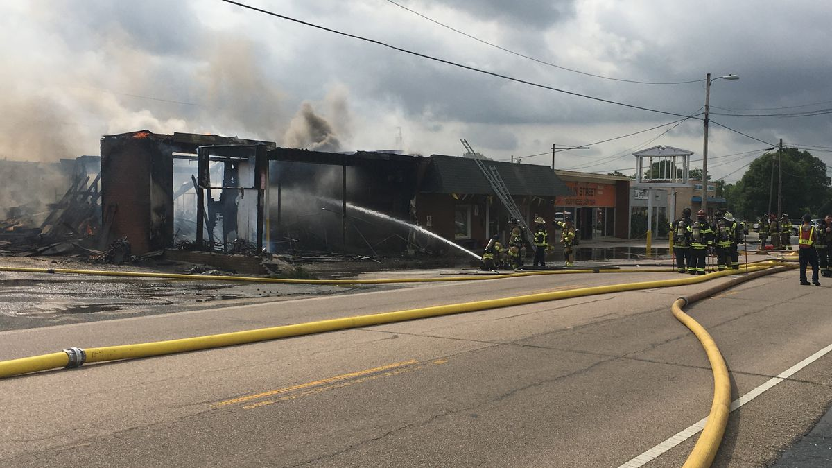 Firefighter injured as flames gut building in downtown Kannapolis