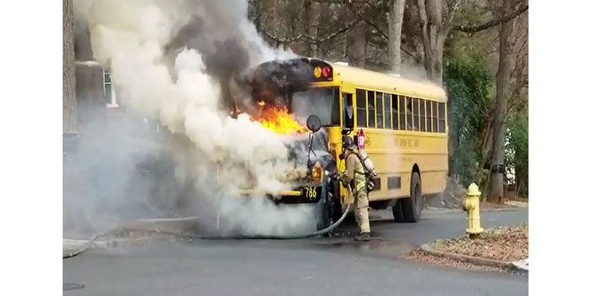 CMS school bus catches fire, 16 students on board OK