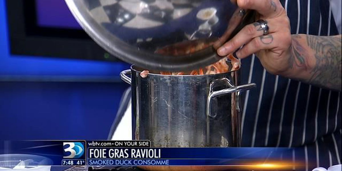 Recipe: Foie Gras Ravioli, Smoked Duck Consomme, Root Vegetable Confetti