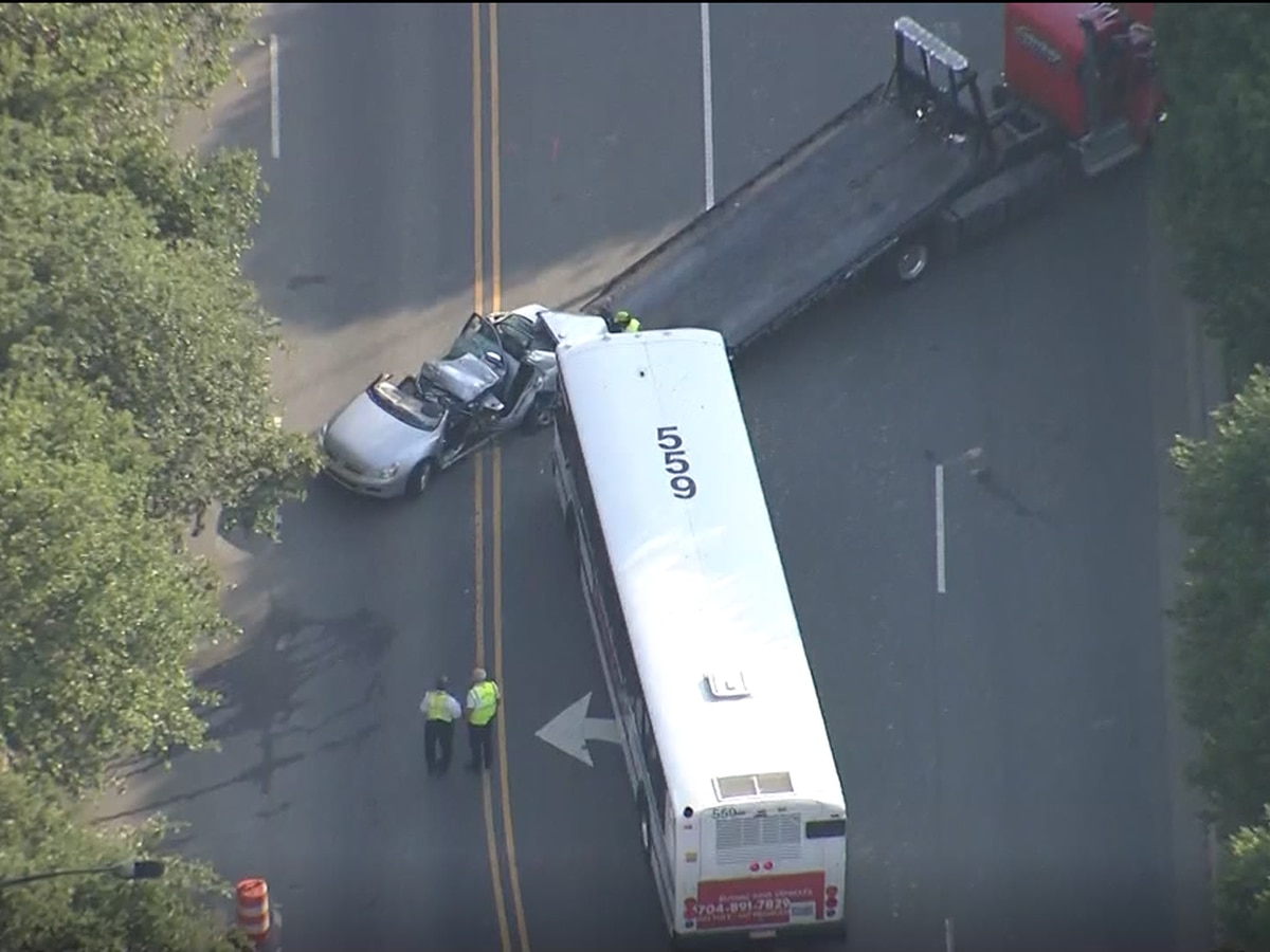 Person seriously injured in crash involving bus in uptown Charlotte