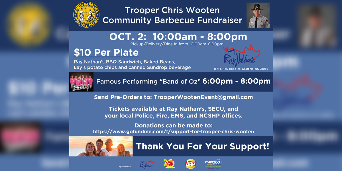 Community fundraiser to be held for Trooper Wooten and family in Oct.