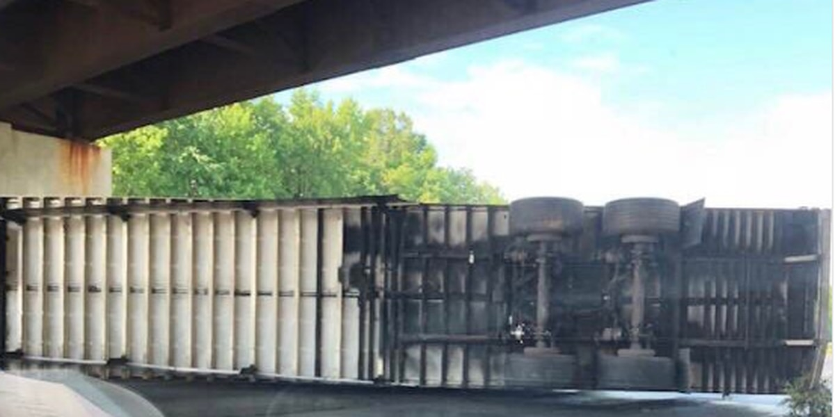 Overturned tractor-trailer blocks portion of I-85 in Rowan County