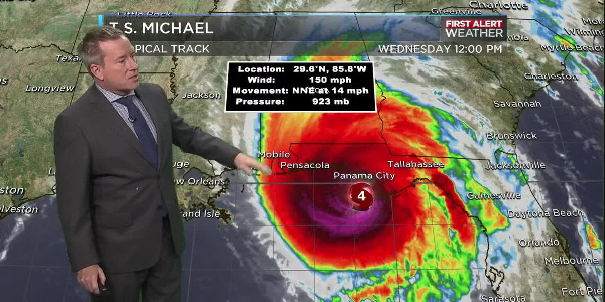 FIRST ALERT: Tracking Michael Wed, Oct 10 @ 12pm