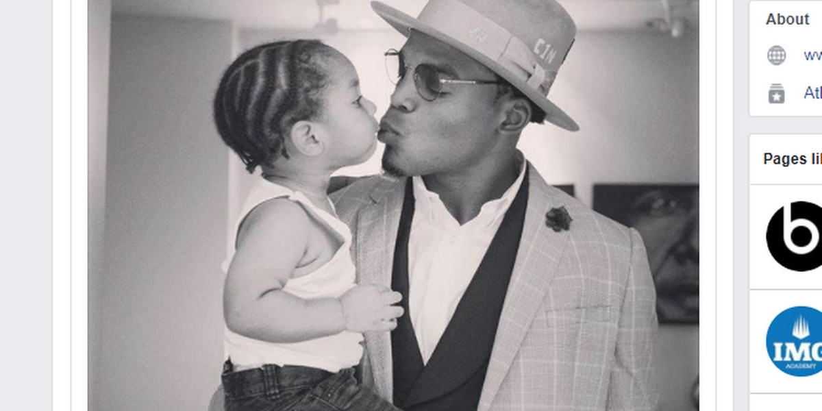 Cam Newton shares rare photo of himself and son on Facebook