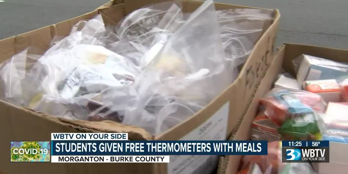 Burke County Schools handing out thermometers with meals