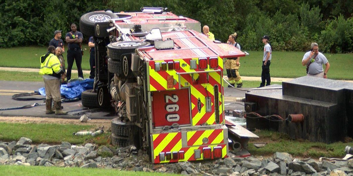 Three firefighters injured when fire truck overturns in Union County