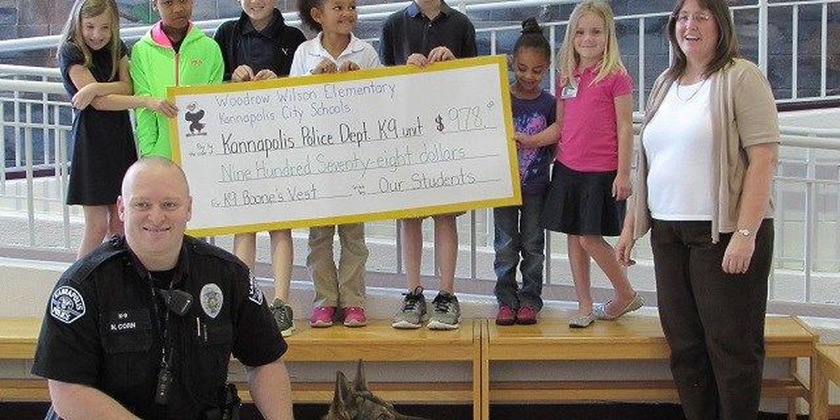 Elementary school students buy vest for Kannapolis police dog
