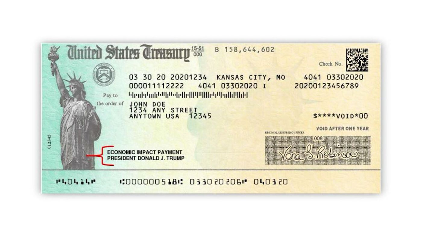 Here's what stimulus check with Trump's name looks like