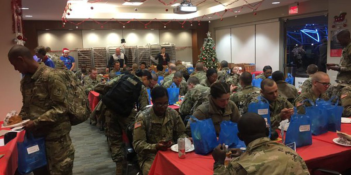 Troops celebrated at Charlotte airport as they head home for holidays