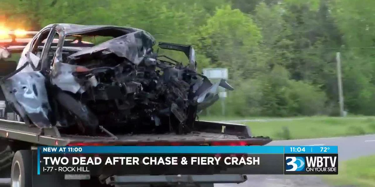 Two killed in fiery crash during police pursuit involving stolen vehicle on I-77