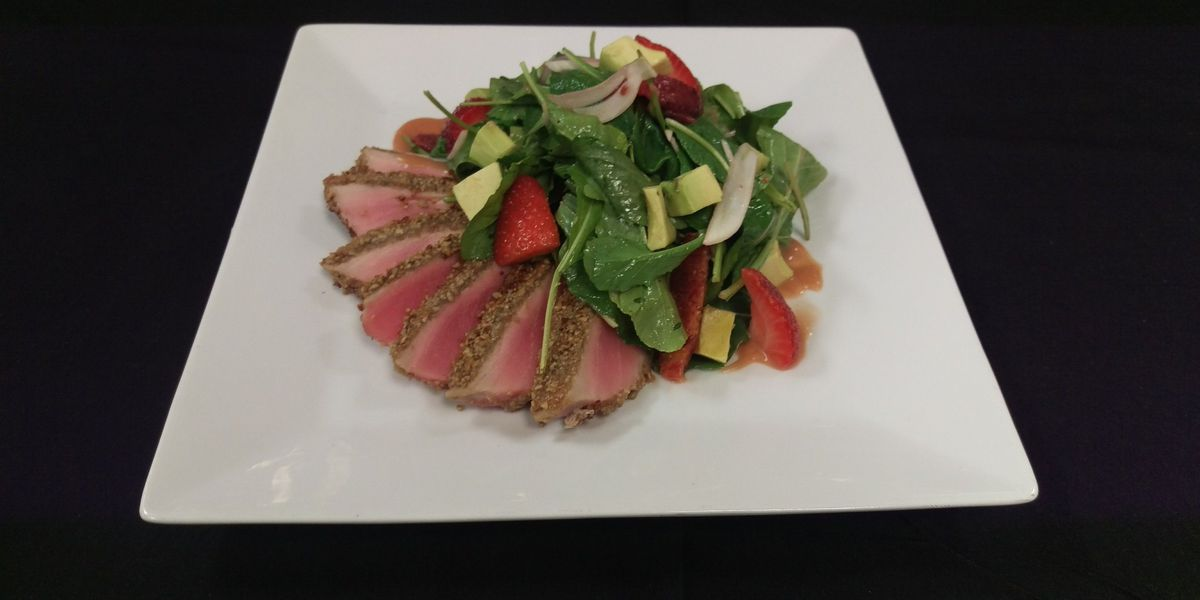 Pickled Strawberry Salad & Sunflower Seed Crusted Tuna recipe