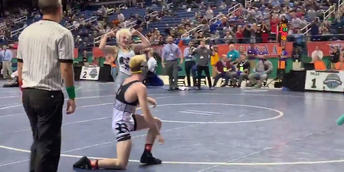 Watch crowd chant wrestler's name as she becomes first girl to win state title in NC