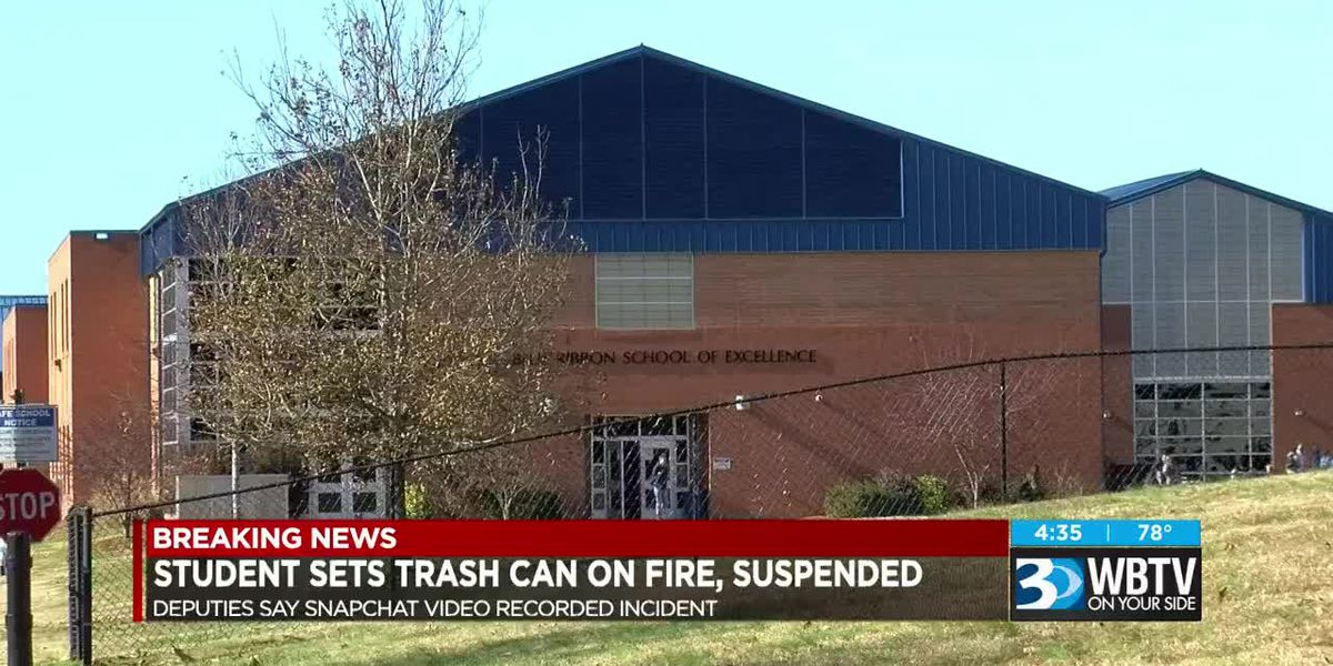 Student accused of setting trash can on fire suspended