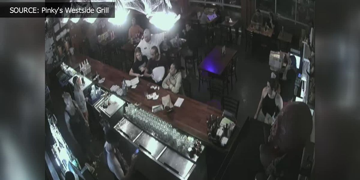 RAW VIDEO: Man throws glass at bartender at Pinky's Westside Grill