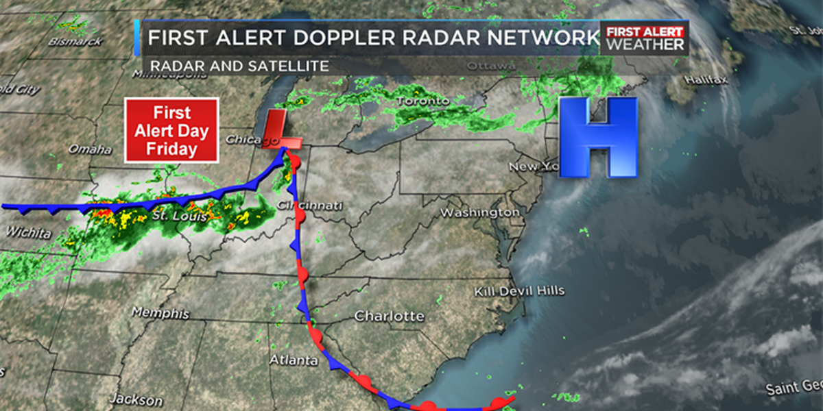 First Alert Day Friday as front moves in