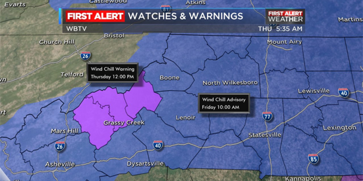 Wind chill advisory in effect Thursday night and Friday morning