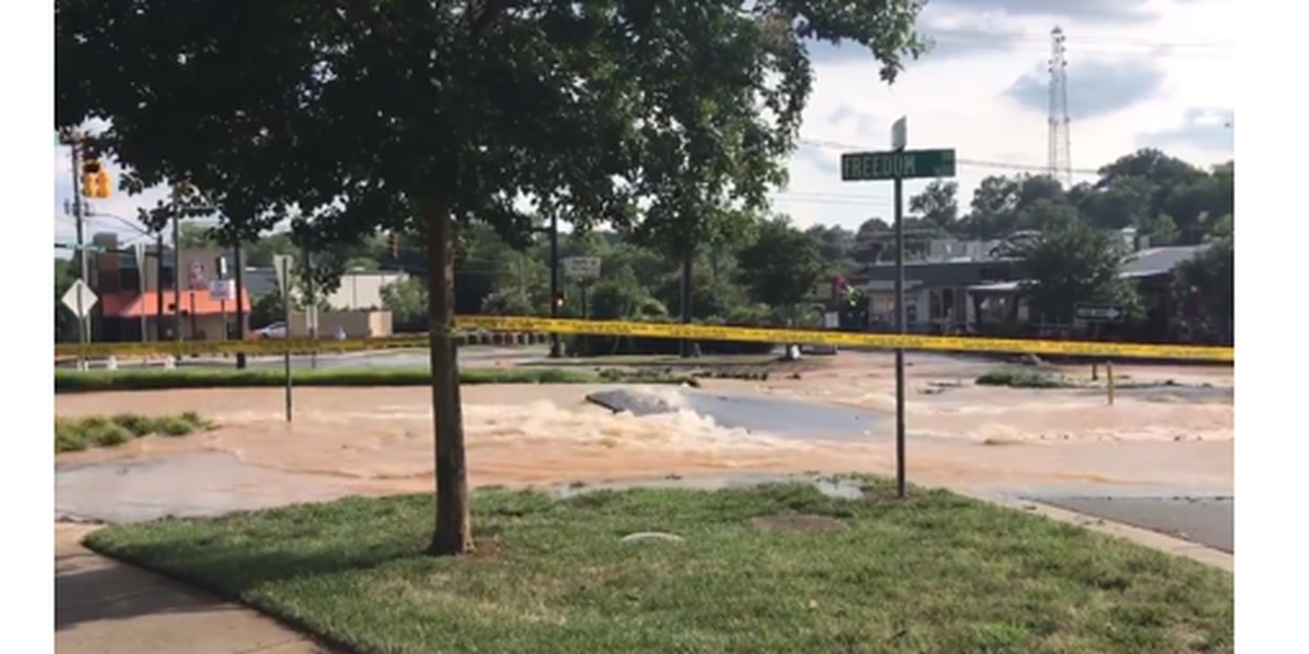 Major intersection near Uptown flooded, road washed out, after water main breaks