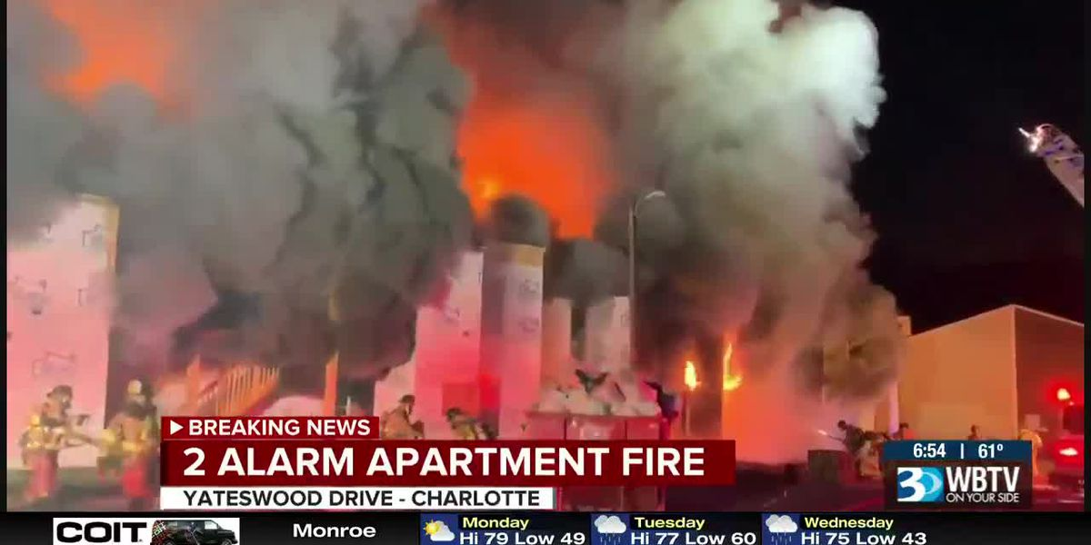 Crews battle massive fire at apartments in east Charlotte