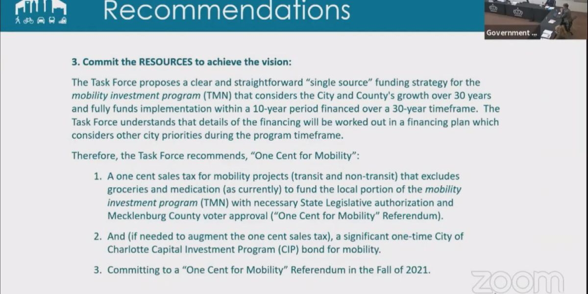 Task force recommends one cent sales tax increase to pay for Charlotte Transformational Mobility Network