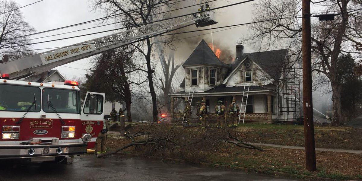 Crews battle fire at century-old home in Salisbury