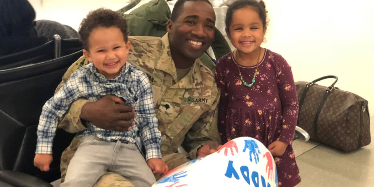 Cleveland Co. soldier surprises children after 313-day deployment