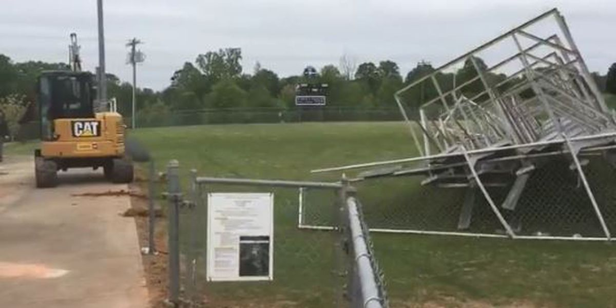 Cleanup at local High School after wind causes major damage