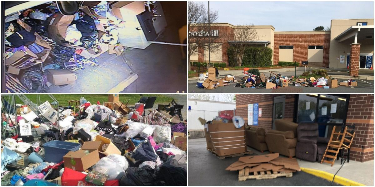Donations, trash piling up at closed Goodwill locations in the Charlotte area