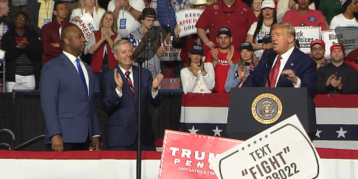 President Trump attacks Democrats, rallies supporters in S.C. hours before primary