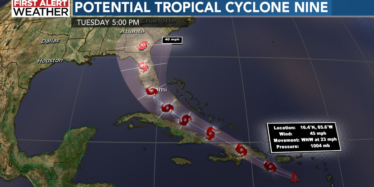 Track changes for Potential Tropical Cyclone Nine