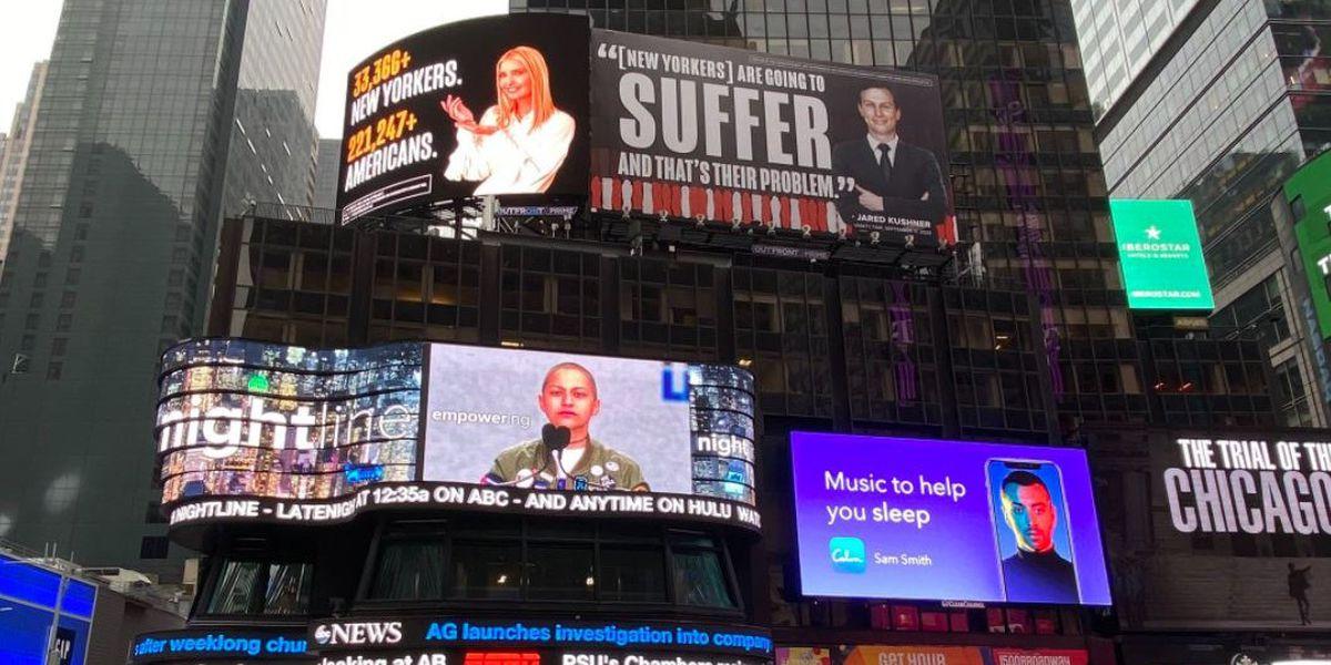 Ivanka Trump and Jared Kushner threaten lawsuit over billboards criticizing COVID-19 response, group says