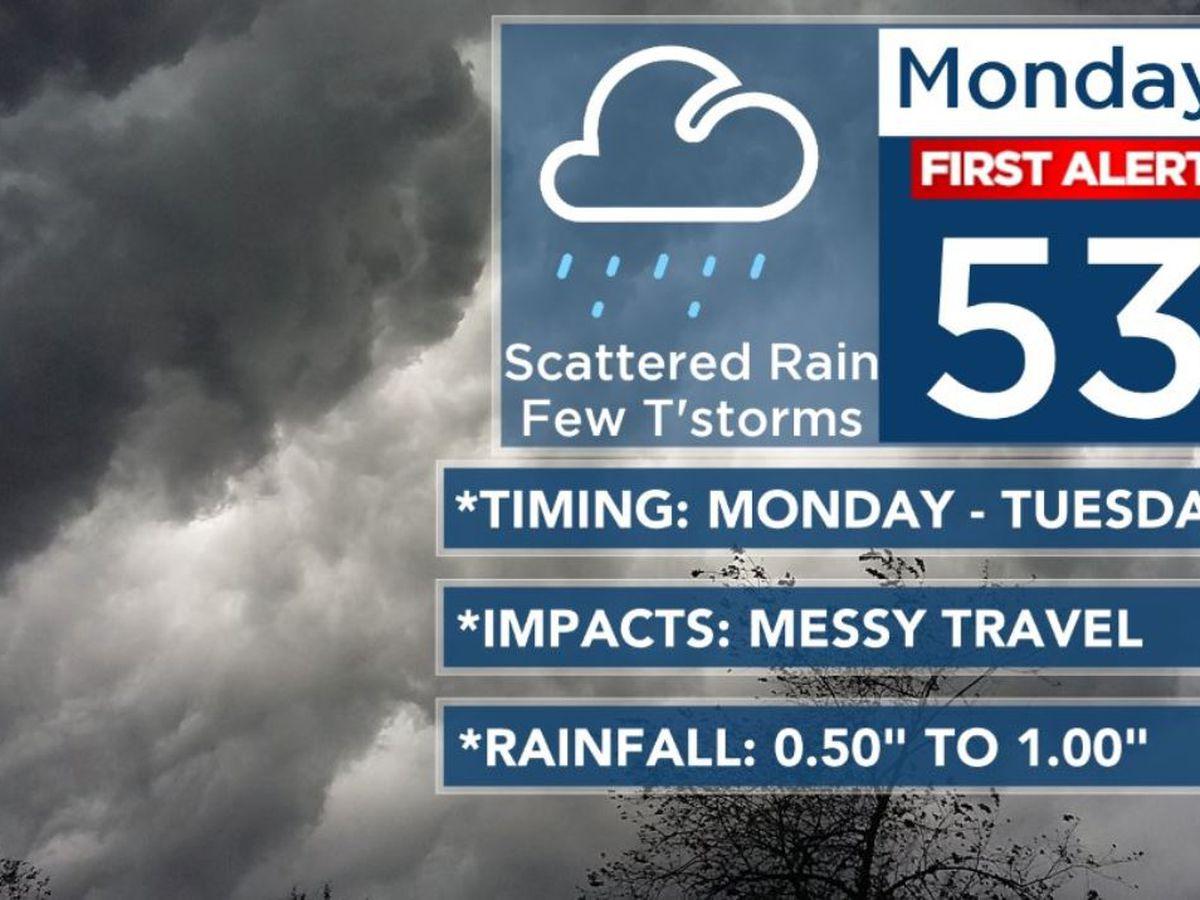 First Alert declared Monday as rain returns for evening commute