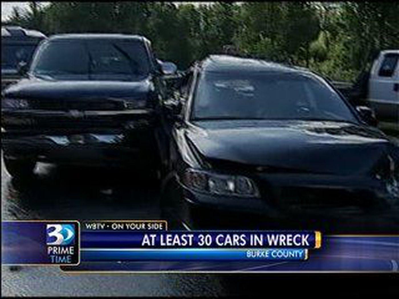 I40 east closes due to 30 car crash